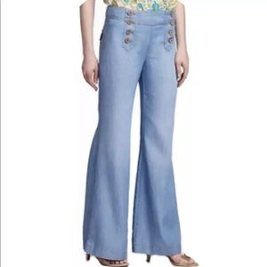 Anthro Elevenses Sailor Flare Wide Leg Jeans, 4.